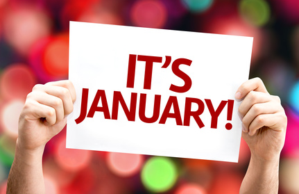 It's January card with colorful background