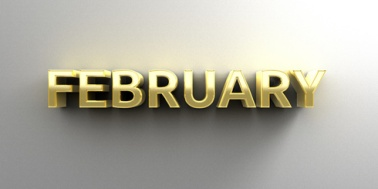 February month gold 3D quality render on the wall background with soft shadow.